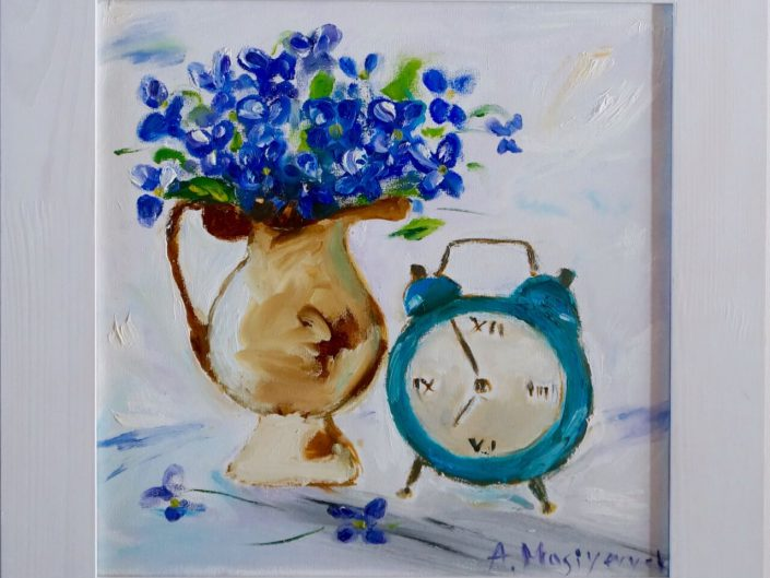 Violets and clock