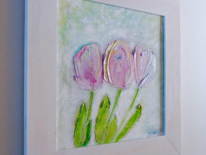 """3000 грн., """"Три рожеві тюльпани"""", олія, полотно, 40 х 40 см"""