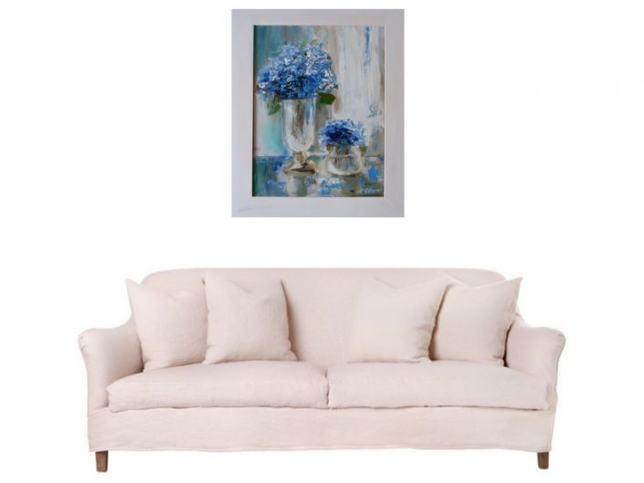 """8500 грн., """"Сині квіти"""", олія, полотно, 45 х 55 см"""